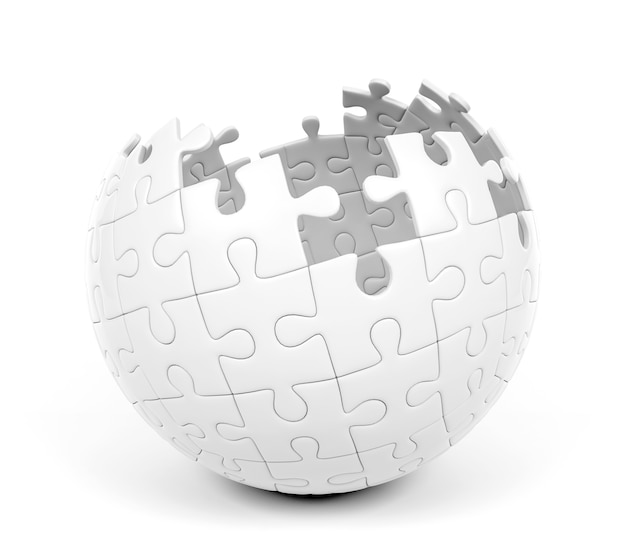 Spherical puzzle with missing pieces, 3d rendering