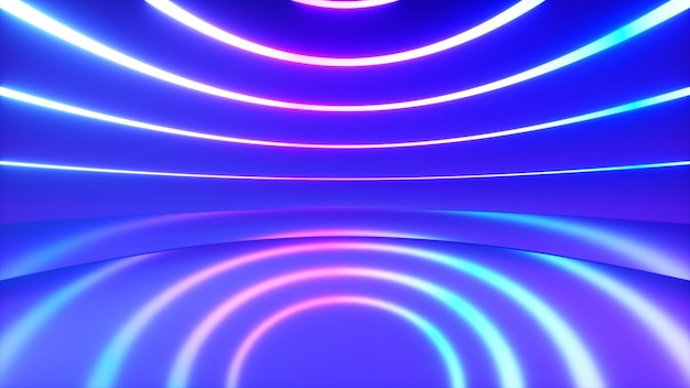 A spherical room with bright neon lighting with an offset effect. business background. 3d illustration
