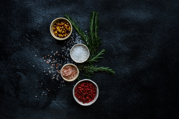 Spice cooking concept with sea salt
