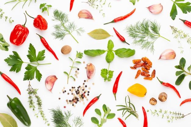 Травяные листья специй и перец чили на белом фоне. образец овощей. цветочные и овощи на белом фоне. вид сверху, плоская планировка.