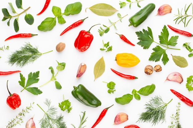Spice herbal leaves and chili pepper on white background