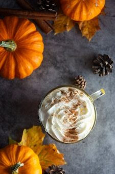 Spiced autumn pumpkin latte drink with cinnamon and cream foam top view with copyspace fall drink