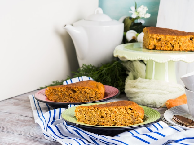 Spiced carrot cake with walnuts and cinnamon