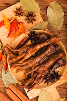 Spiced chicken feet
