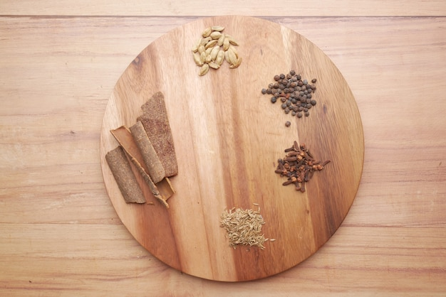 テーブルトップビューのまな板のスパイスとハーブ