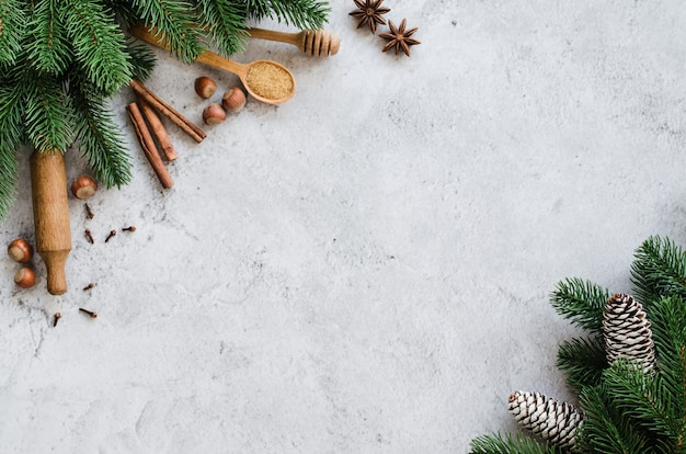 Spices for baking and fir branches on concrete.