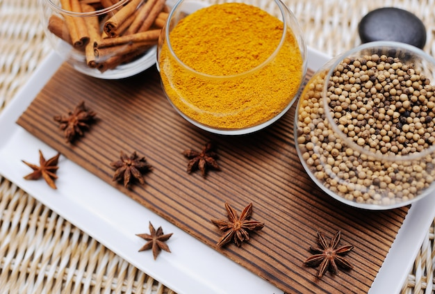 Spices in a beautiful dish in spa salon close up