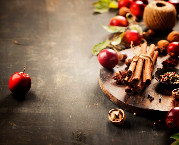 Spices, cinnamon stick and fruits