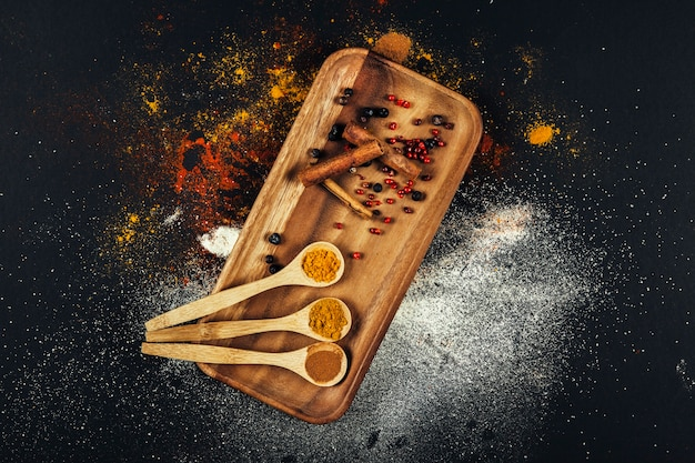 Spices composition with cinnamon on board