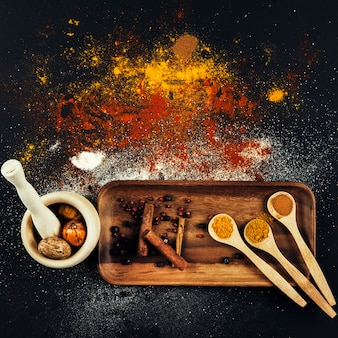 Spices composition with cinnamon and curry