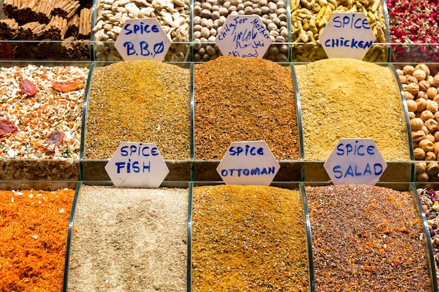 Spices on the egyptian market in istanbul, turkey.