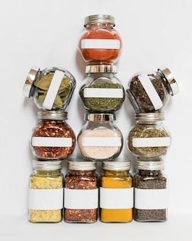 Spices and herbs jars arrangement