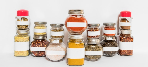 Spices and herbs jars composition