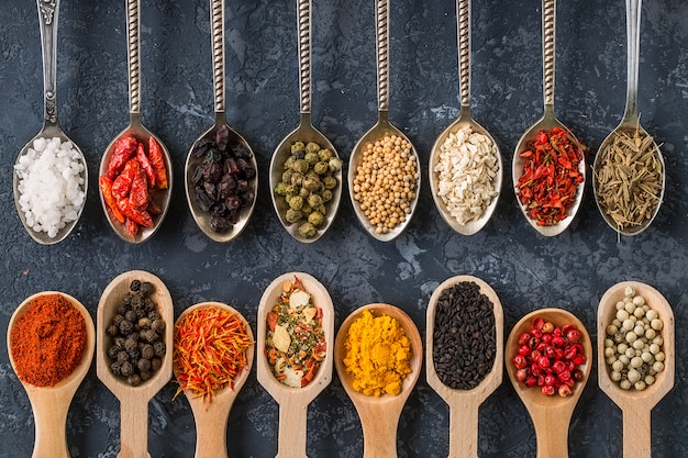 Spices. herbs and spices selection in old metal spoons on dark