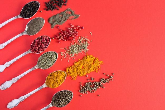 赤で肉を調理するための銀のスプーンのスパイス。上面図。