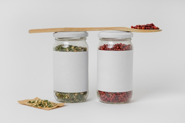 Spices in jars with label