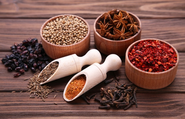 Spices mix on a brown wooden background. top view