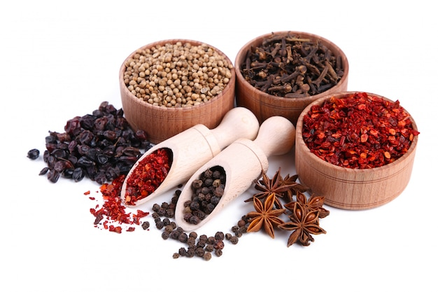 Spices mix isolated on a white background. top view
