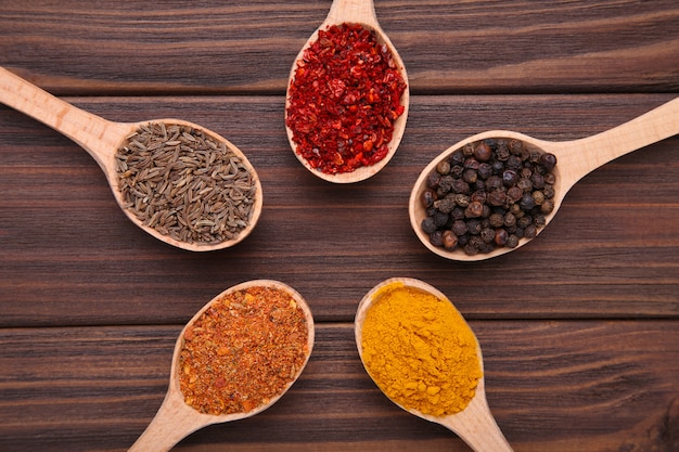Spices mix on wooden spoons on a brown wooden background. top view