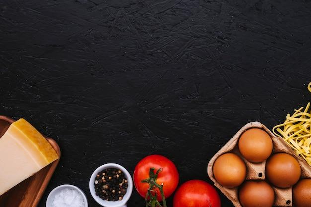 Spices near pasta ingredients