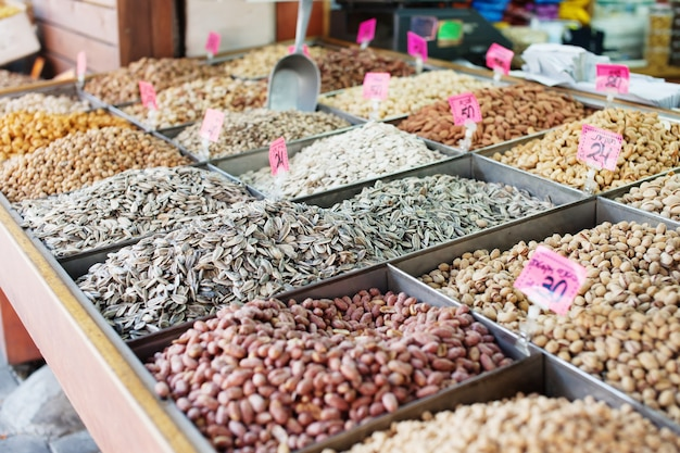 Spices, nuts and vegetables in open market in tel aviv, israel