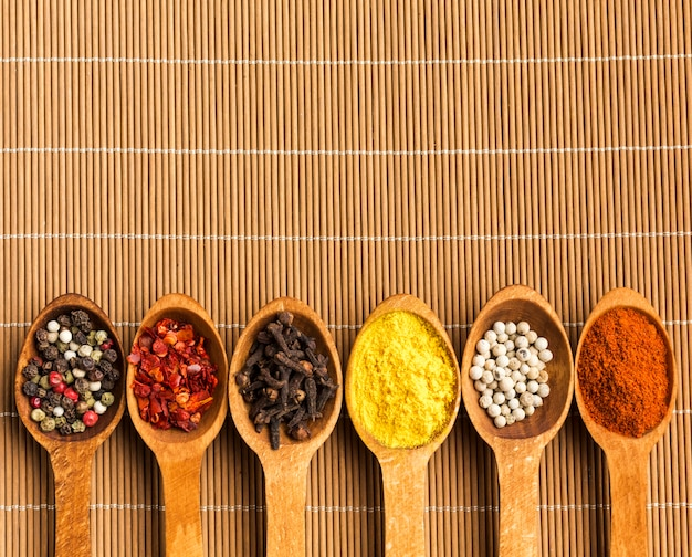 Spices powder on spoon with copy-space