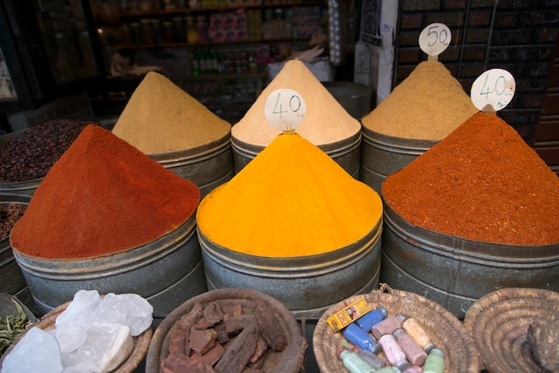 Spices for sale at market stall, medina, marrakesh, morocco