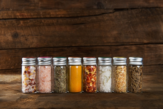 Spices set in mini bottles