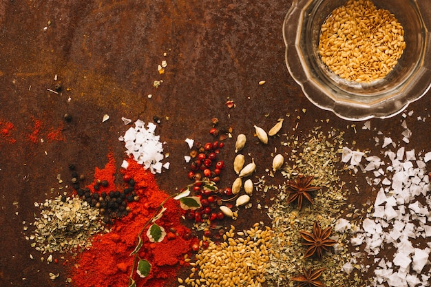 Spices spilled near bowl