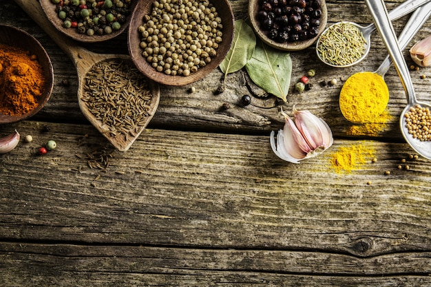Spices in spoons on wooden background