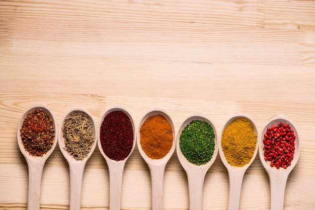 Spices in spoons on wooden table