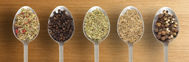 Spices in a spoons
