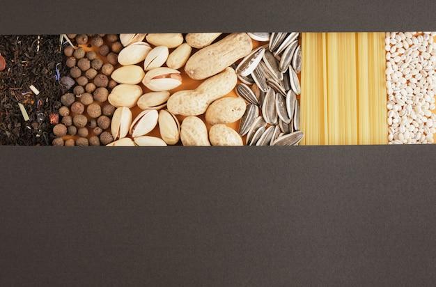 スパイス、お茶、シリアル、ナッツ、種子、パスタのテクスチャ、テキストコピースペースのモックアップ用の黒い紙、食料品のコンセプトの上面図