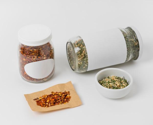 Spices with labels arrangement