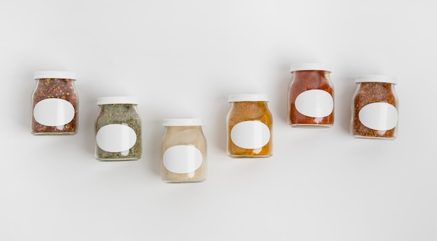Spices with labels assortment