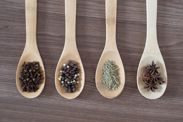 Spices on wood spoons