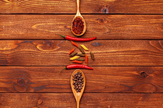 Spices on wooden table background