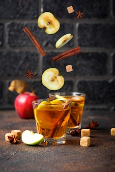 Spicy apple cider, autumn drink
