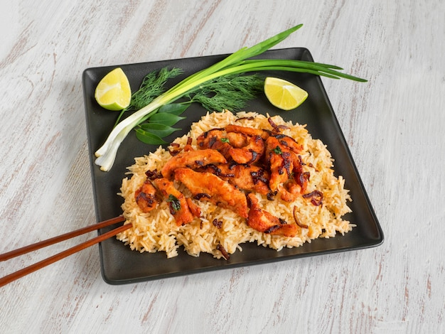 Spicy chicken fry with basmati rice. south india dish