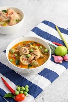 Spicy chicken stir-fried with thai eggplant.
