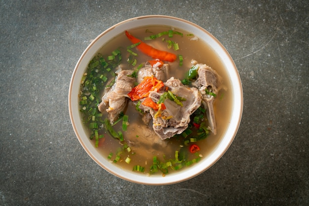 Spicy chopped pork backbone soup or spicy leng soup - asian food style