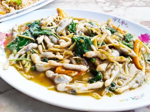 Spicy fried razor clams  ,thai food.