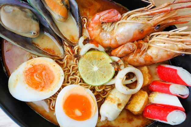 Spicy instant noodles soup with shrimp,tom yum kung