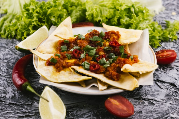 Spicy mexican food with red hot chilli peppers