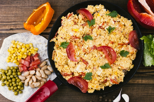 Spicy mexican scrambled eggs top view