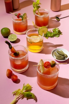 Spicy michelada drink assortment on the table
