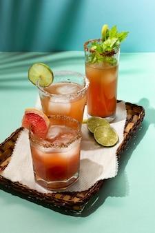 Spicy michelada drink assortment