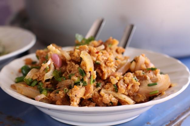 Spicy minced beef salad thai food