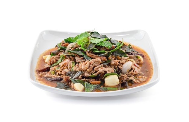 Spicy minced duck salad isolated on white background, thai food, larb ped.