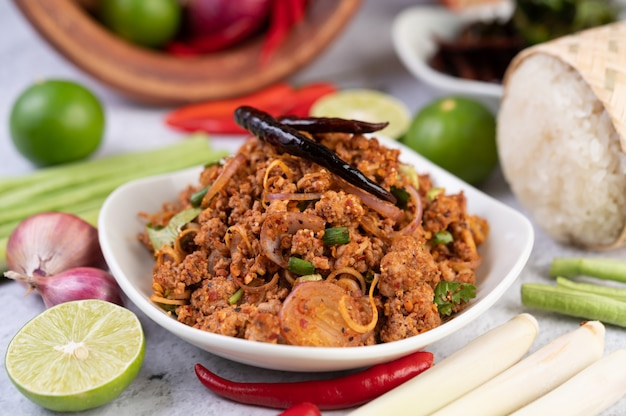 Spicy minced pork in a white plate.